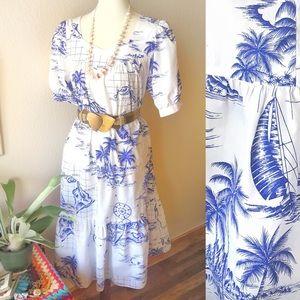 True Vintage🌴70s Blue Hawaii Midi Spring Dress